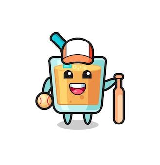 야구 선수로서의 오렌지 주스의 만화 캐릭터, 티셔츠, 스티커, 로고 요소를 위한 귀여운 스타일 디자인