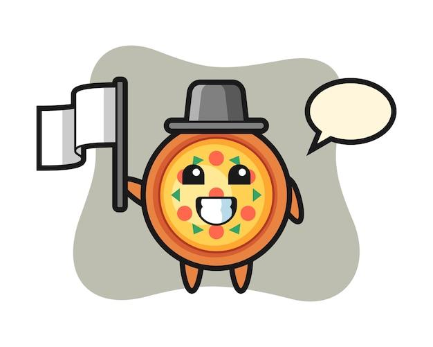 Мультипликационный персонаж пиццы с флагом