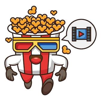 팝 옥수수 실행 디자인의 만화 캐릭터