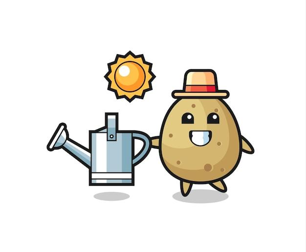 물뿌리개를 들고 있는 감자의 만화 캐릭터, 티셔츠, 스티커, 로고 요소를 위한 귀여운 스타일 디자인