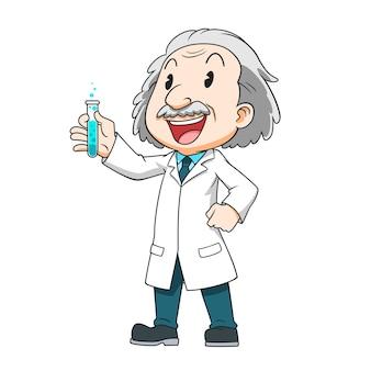테스트 튜브를 들고 과학자의 만화 캐릭터입니다.