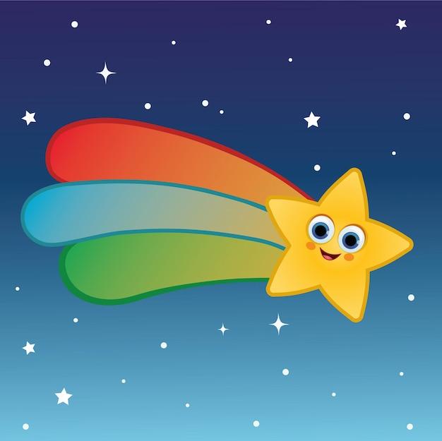 Мультипликационный персонаж падающей звезды векторные иллюстрации