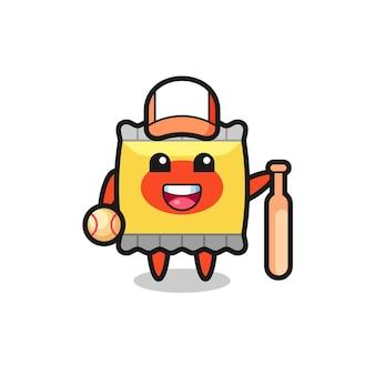 野球選手としてのスナックの漫画のキャラクター、tシャツ、ステッカー、ロゴ要素のかわいいスタイルのデザイン