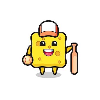 Мультяшный персонаж губки как бейсболист, милый стиль дизайна для футболки, наклейки, элемента логотипа