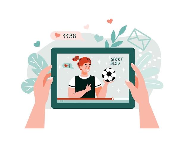 Мультипликационный персонаж спортивного тренера на экране планшета