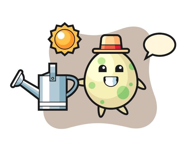 물뿌리개를 들고 있는 발견 달걀의 만화 캐릭터, 티셔츠, 스티커, 로고 요소를 위한 귀여운 스타일 디자인