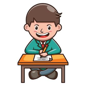 종이에 쓰는 학생의 만화 캐릭터. 무료 벡터
