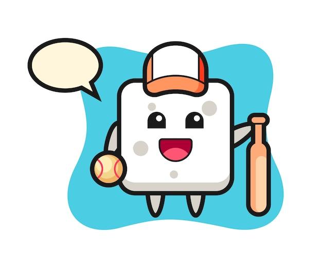 Мультипликационный персонаж сахарного кубика как бейсболист, милый стиль для футболки, стикер, логотип