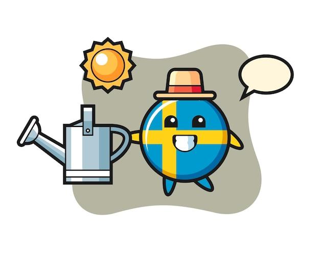 물뿌리개를 들고 있는 스웨덴 국기 배지의 만화 캐릭터, 티셔츠, 스티커, 로고 요소를 위한 귀여운 스타일 디자인