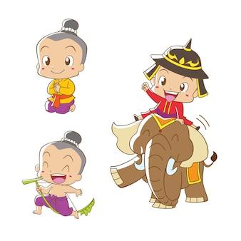 タイの伝統的な衣装のタイの少年の漫画のキャラクター。