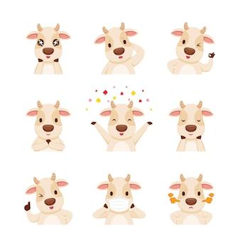 Мультипликационный персонаж быка, набор смайликов, год быка, животное, выражение, эмоции