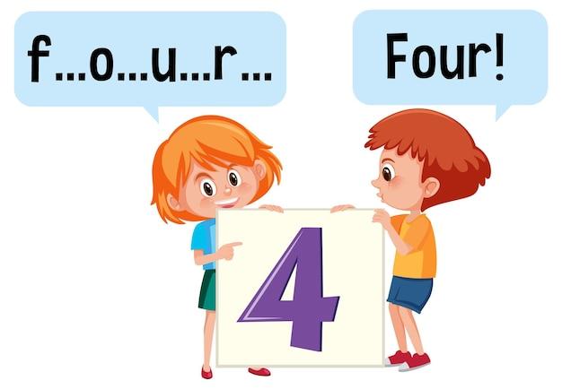 Мультипликационный персонаж двух детей, пишущих число четыре