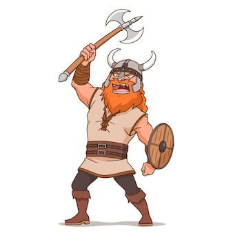 斧を持っているバイキングの男の漫画のキャラクター