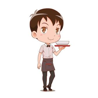 Мультипликационный персонаж официант держит поднос.