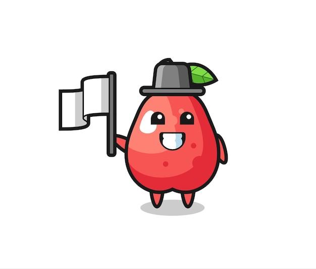 Мультипликационный персонаж водяного яблока с флагом, милый стильный дизайн для футболки, стикер, элемент логотипа