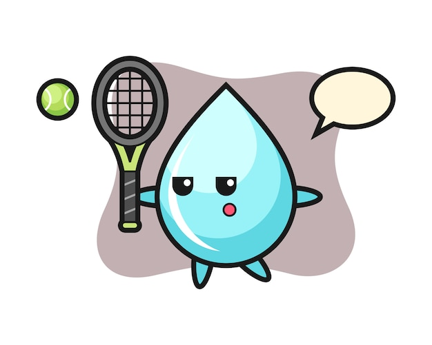 Мультипликационный персонаж капли воды в качестве теннисиста, милый дизайн стиля для футболки