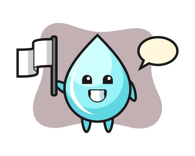 Мультипликационный персонаж капли воды держит флаг, милый дизайн стиля для футболки