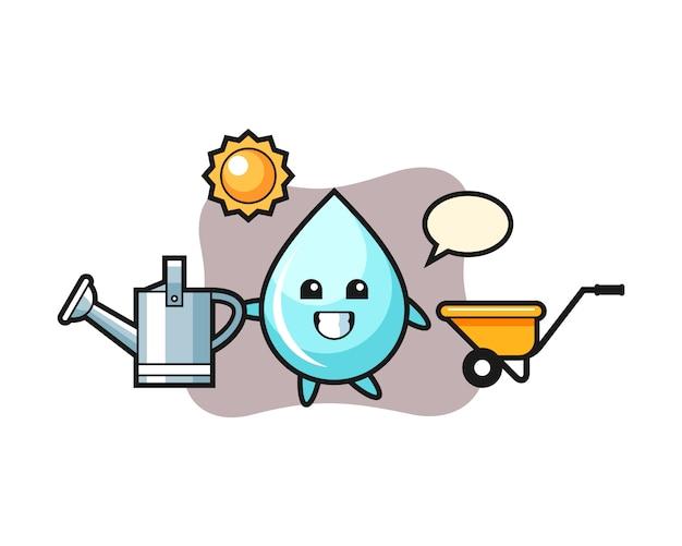 Мультипликационный персонаж капли воды, держа лейку, милый дизайн для футболки