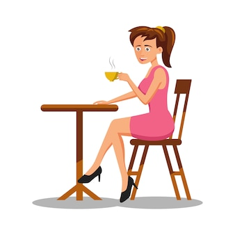 コーヒーを飲む女性の漫画のキャラクター