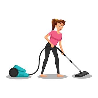Мультипликационный персонаж женщины пылесосить