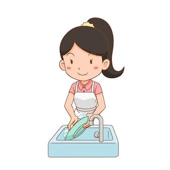 Мультипликационный персонаж женщины, мытье посуды.