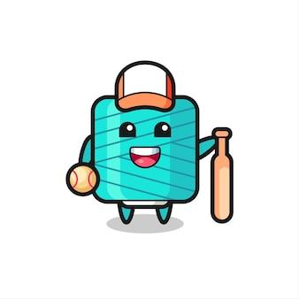 야구 선수로서의 실 스풀의 만화 캐릭터, 티셔츠, 스티커, 로고 요소를 위한 귀여운 스타일 디자인