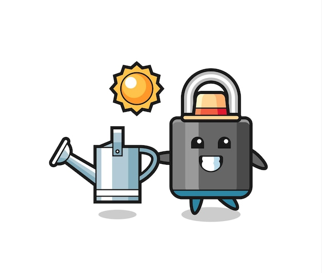 Cartoon character of padlock holding watering can , cute style design for t shirt, sticker, logo element