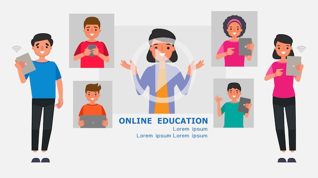 Cartoon character parents supervise internet usage concepts.distance learning information technology illustration education online learn at home with the epidemic situation content.