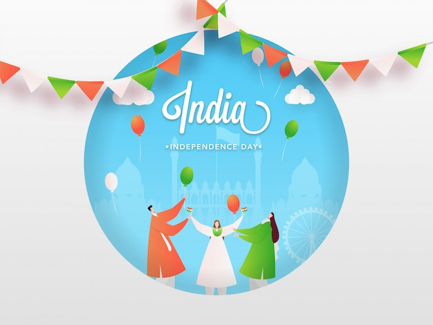 Cartoon character of people celebrating idian happy independence