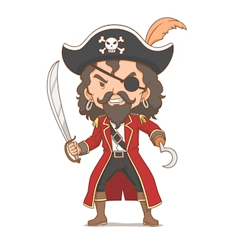 Cartoon character of pirate holding sword Free Vector