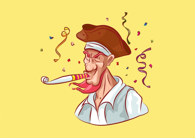 Cartoon character pirate mascot blowing into unfolding pipe happy birthday serpentine confetti emotion emoticon yellow