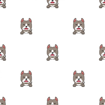 Cartoon character pitbull terrier dog seamless pattern background