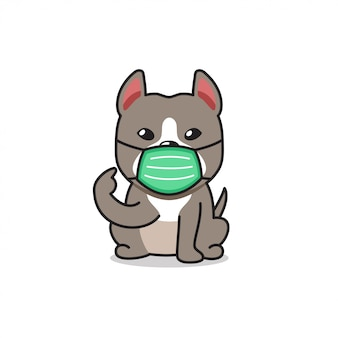 Cartoon character pitbull terrier dog wearing protective face mask
