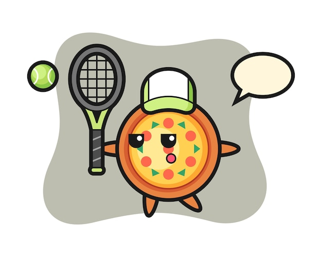Cartoon character of pizza as a tennis player
