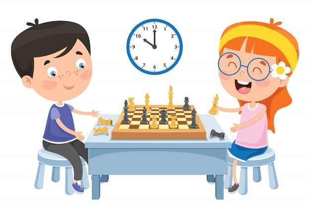 Cartoon character playing chess game
