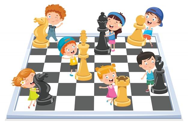漫画のキャラクターがチェスのゲームをプレイ