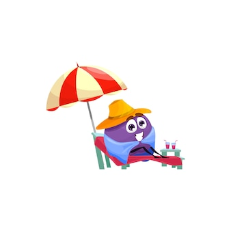 Cartoon character plum rest on beach, summer fruit