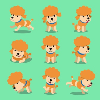 Cartoon character poodle dog poses