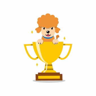 Cartoon character poodle dog with gold trophy cup award
