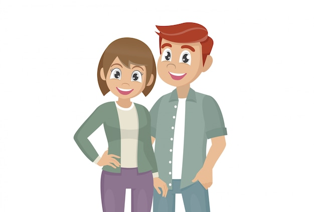 Cartoon character poses,  couple of young people.man and woman hug.