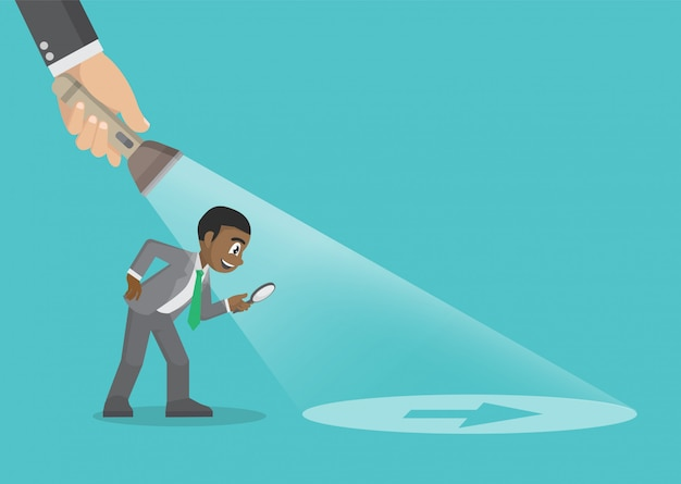 Cartoon character poses, illustration of a businessman being guided by a hand holding a flashlight uncovering arrow sign. business concept.