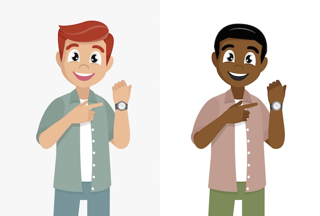 Cartoon character poses, man pointing or showing time on his wrist watch. male character design illustration.