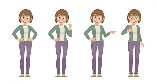 Cartoon character poses, set of women in casual cloth with different expression.