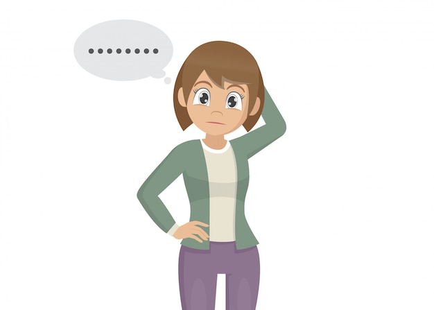 Cartoon character poses, young woman scratching head pensive gesture and forgetful face expression.