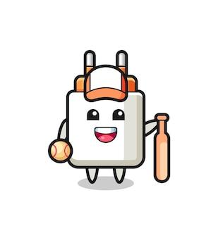 Cartoon character of power adapter as a baseball player , cute design