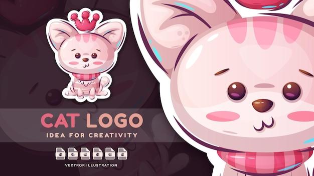 Cartoon character pretty animal cat  childish sticker
