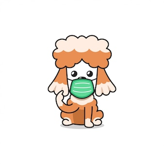 Cartoon character puddle dog wearing protective face mask