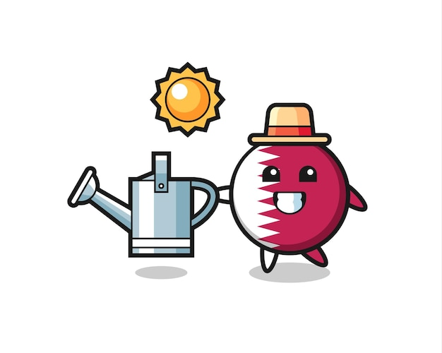 Cartoon character of qatar flag badge holding watering can , cute style design for t shirt, sticker, logo element