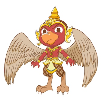 Cartoon character of red garuda.