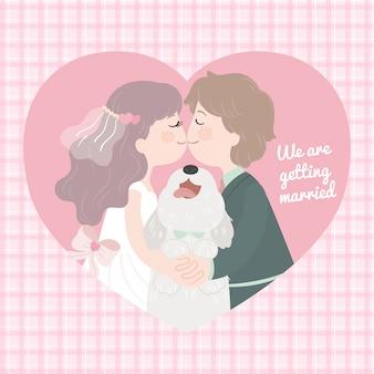 漫画文字ロマンチックな結婚カップルのキス、ピンクのハートフレーム格子縞パターン背景に笑みを浮かべて犬を抱いて